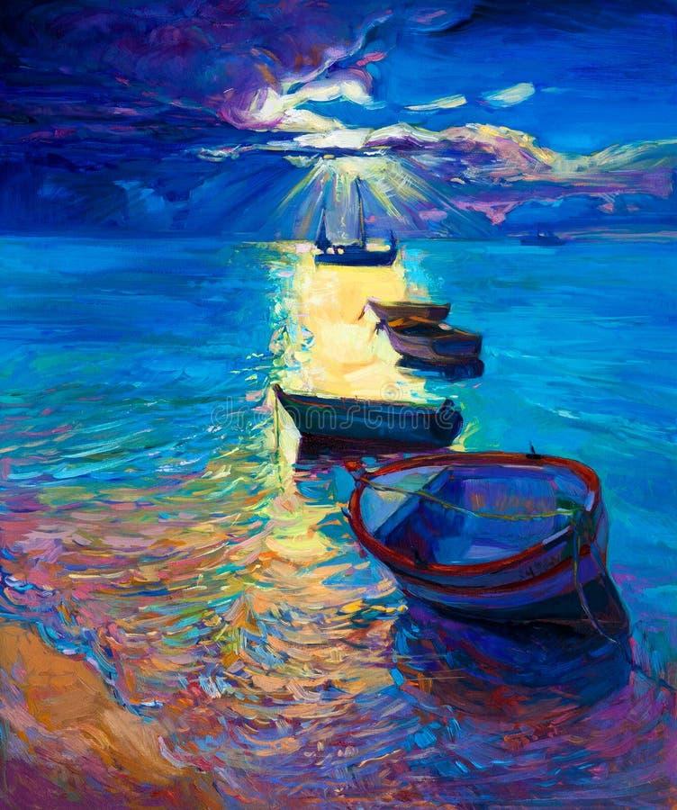 Ocean i łodzie royalty ilustracja