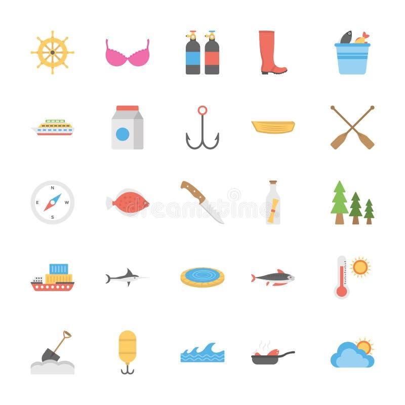 Ocean i Dennego życia ikon Wektorowa paczka ilustracja wektor