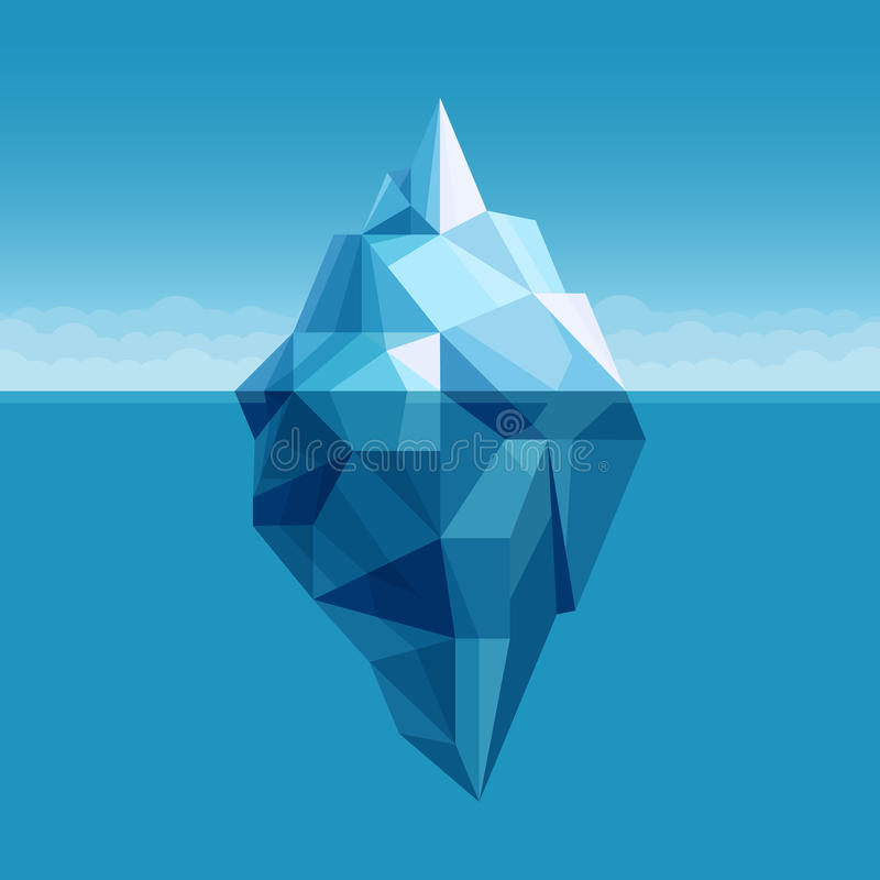 Ocean iceberg antarctic landscape vector background royalty free illustration