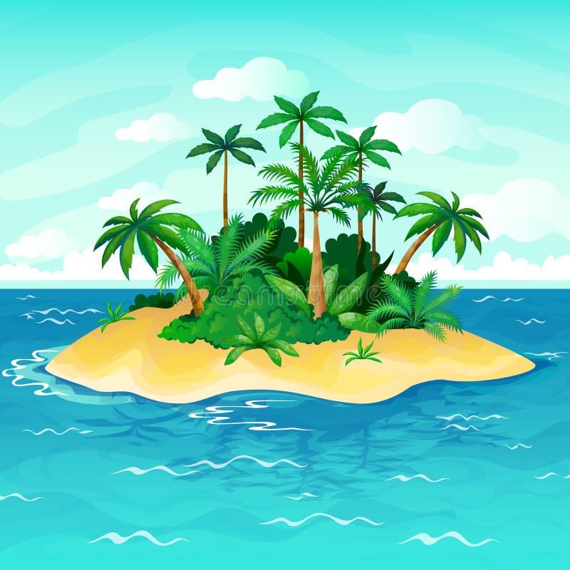 Ocean island cartoon. Palm trees sea uninhabited islands sky sand beach sun panorama view solitude tropical nature stock illustration