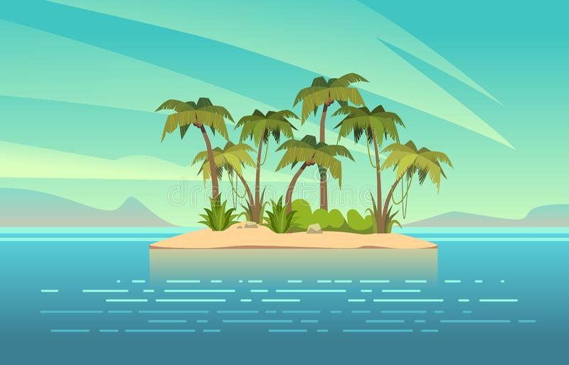 Ocean island cartoon. Tropical island with palm trees summer landscape. Sand beach and sun in blue sky. Travel vacation stock illustration