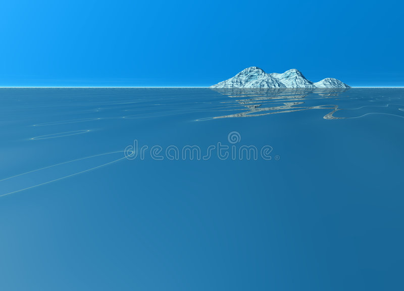 Download Ocean Island Scenery Land Mountain In Distance Stock Illustration - Image: 6792449