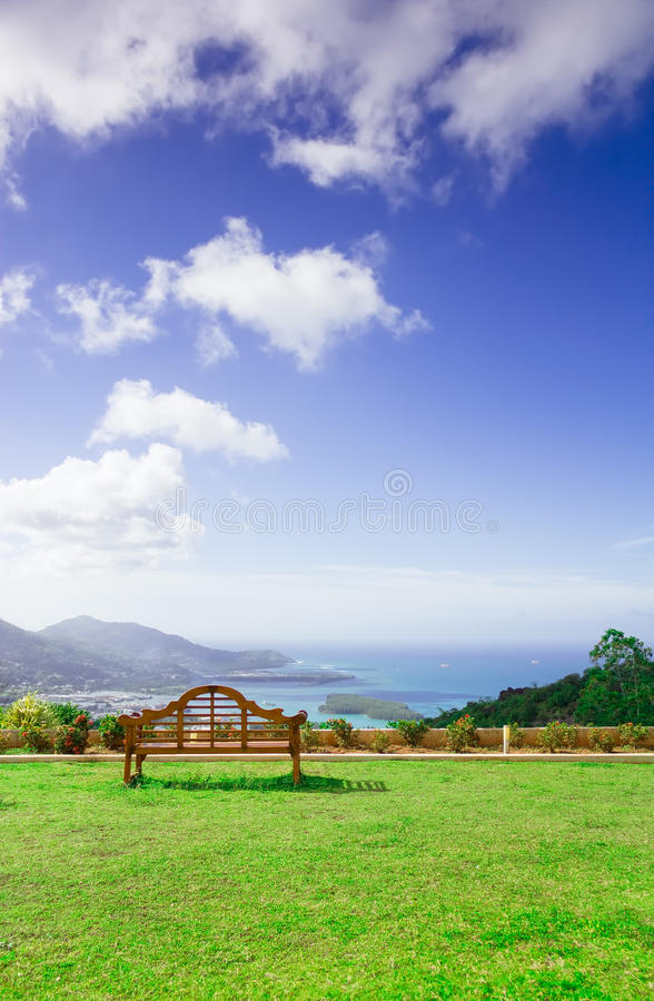Download Ocean And Island View From A Bench Stock Image - Image: 20952625