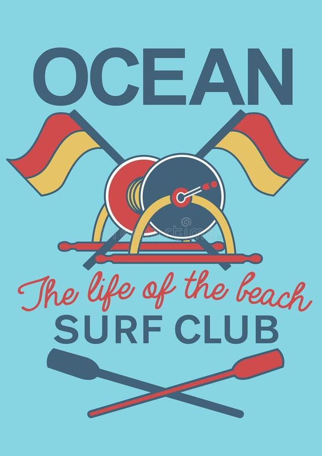 Ocean kipieli klubu wyposażenie ilustracji