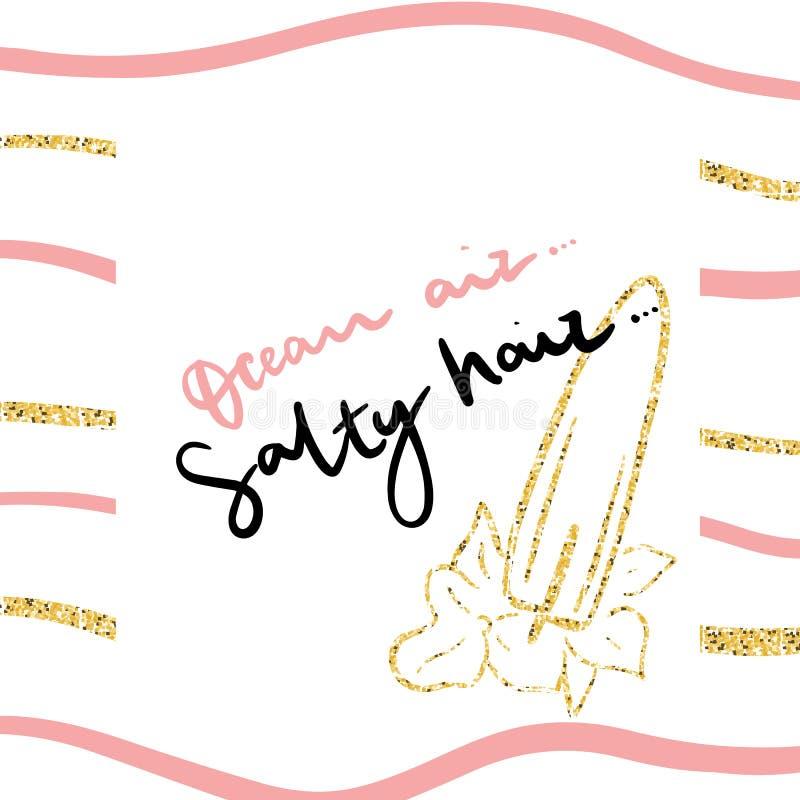 Ocean koszulki lotnicza słona włosiana nowożytna ręka rysująca wektorowa ilustracja z złotą błyskotliwością Moda druk dla dziewcz ilustracji