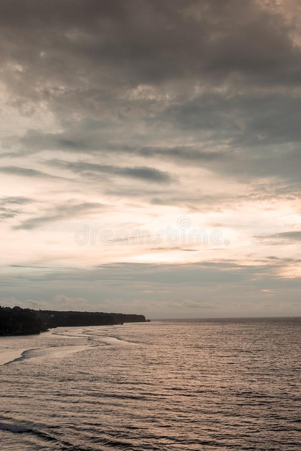 Ocean landscape at sunset time. View from the cliff. Bali island royalty free stock images