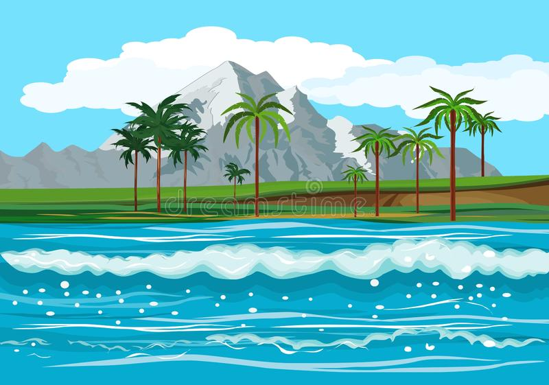 Ocean landscape, tropical islands stock illustration