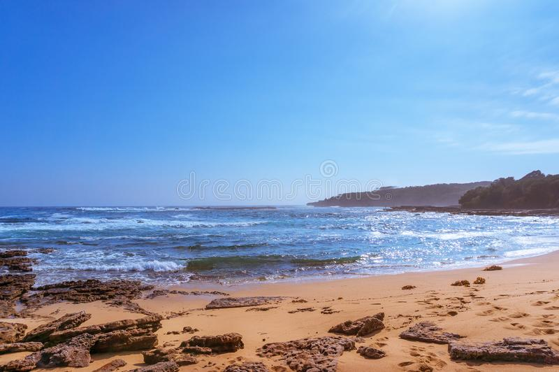 Ocean landscape wit beach and soft waves. Ocean lagoon landscape wit beach and soft waves. Lobster Bay, Beecroft Peninsula in Australia stock photography