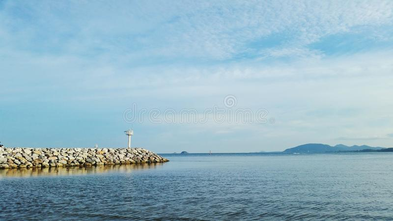 Ocean lighthouse and landmark royalty free stock photo