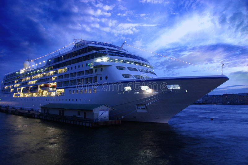 Ocean liner and blue evening stock photo