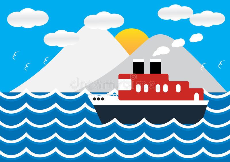 Ocean liner boat ship at sea view in sunset with iceberg. vector illustration