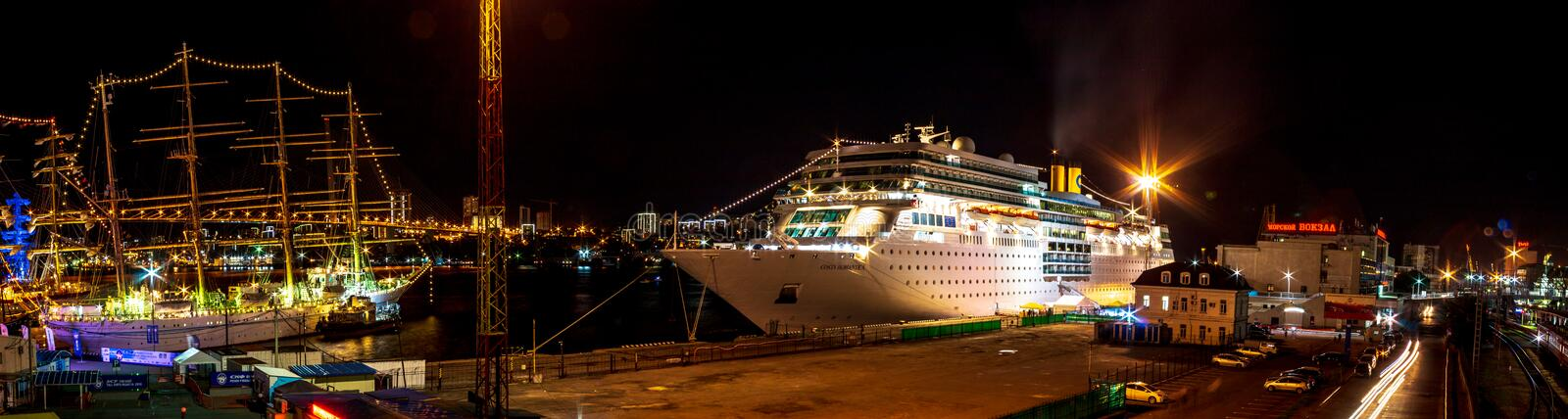 Ocean liner Costa Romantica moored at night on the pier in the downtown of the Far Eastern city of Vladivostok royalty free stock photos