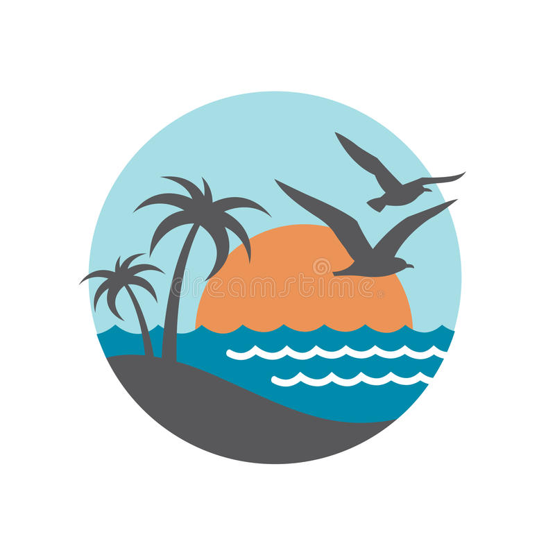Ocean logo design royalty free illustration