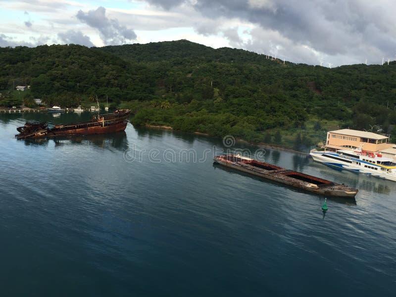 The ocean at Mahogany Bay, Honduras royalty free stock images