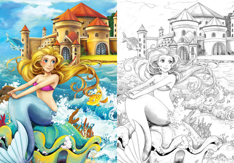 The Ocean And The Mermaids - Coloring Page Stock Illustration ...