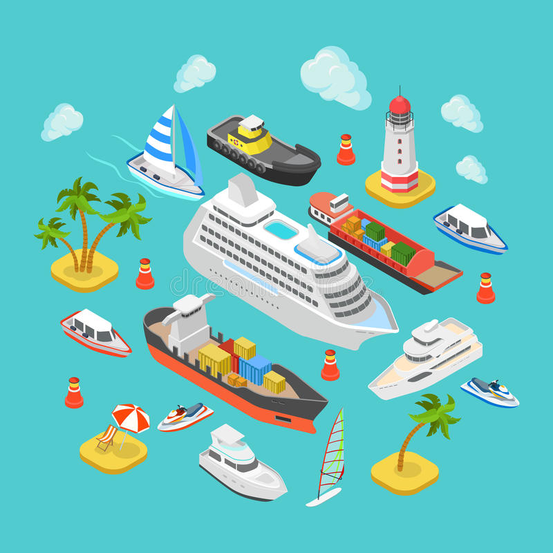 Ocean nautical water transport logistics flat isometric vector stock illustration