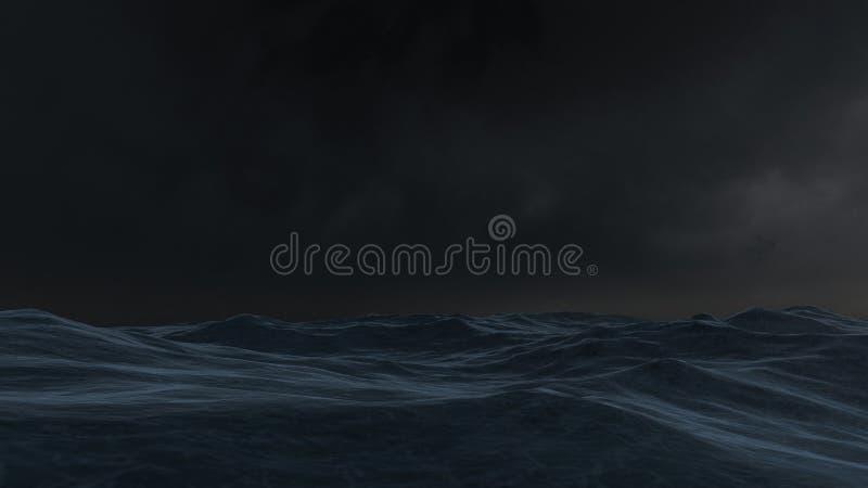 Ocean at night. 3D rendered enviroment scene of ocean at night with moon light vector illustration