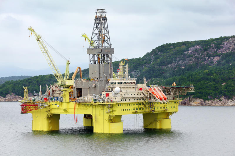Ocean offshore oil rig drilling platform off royalty free stock photography