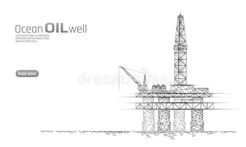 Ocean oil gas drilling rig low poly business concept. Finance economy polygonal petrol production. Petroleum fuel. Industry offshore extraction derricks stock illustration