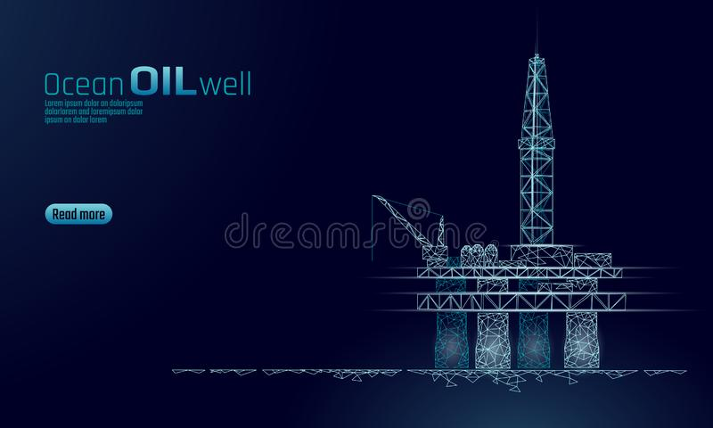 Ocean oil gas drilling rig low poly business concept. Finance economy polygonal petrol production. Petroleum fuel. Industry offshore extraction derricks vector illustration