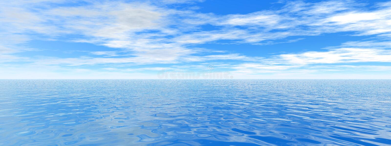 Ocean panorama. 3d render illustration of crystal clear ocean panorama royalty free stock image