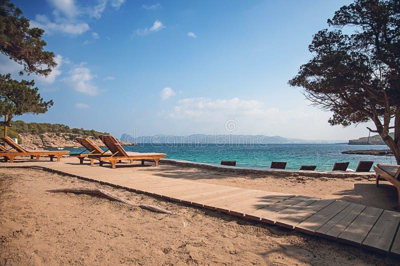 Ocean panoramy plaży widok w Ibiza Balearic wyspach Soain zdjęcia royalty free