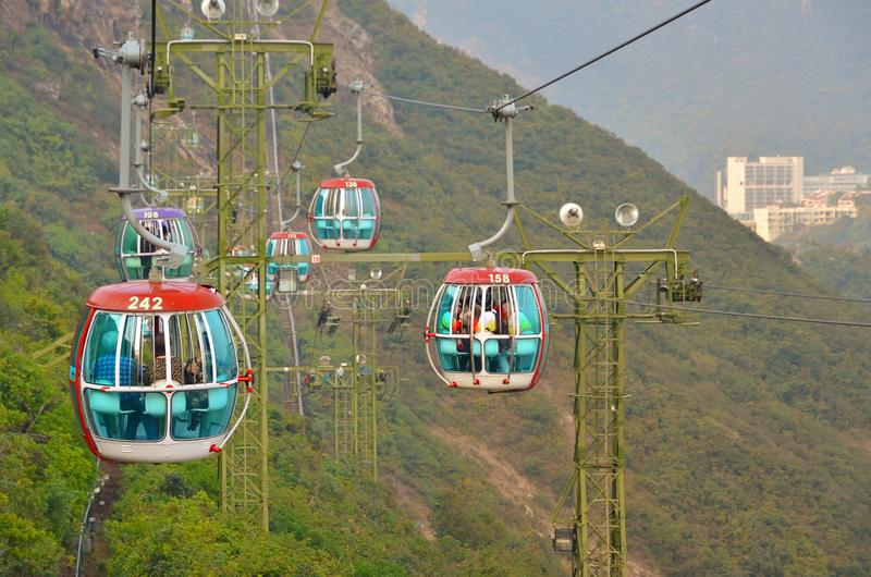 OCEAN PARK, HONGKONG - MARCH 15: Cablecar on march 15, 2018, Ocean Park, Hongkong. Cablecar carries tourists up to the. Entertainment park, trees, high, sky royalty free stock image
