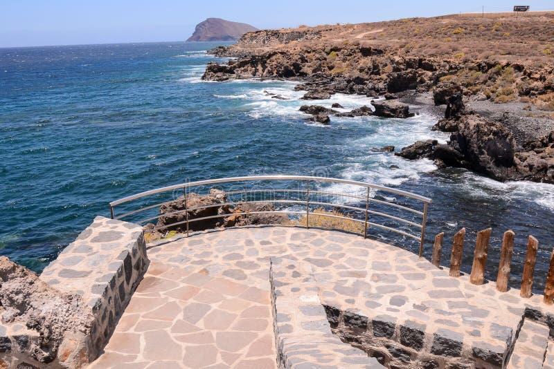 Ocean Pier. Pier over Atlantic Ocean in Tenerife Canary Islands Spain royalty free stock photo