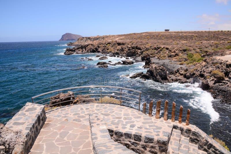 Ocean Pier. Pier over Atlantic Ocean in Tenerife Canary Islands Spain stock photo