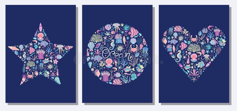 Ocean Pod Dennymi światów drukami, kartami i royalty ilustracja