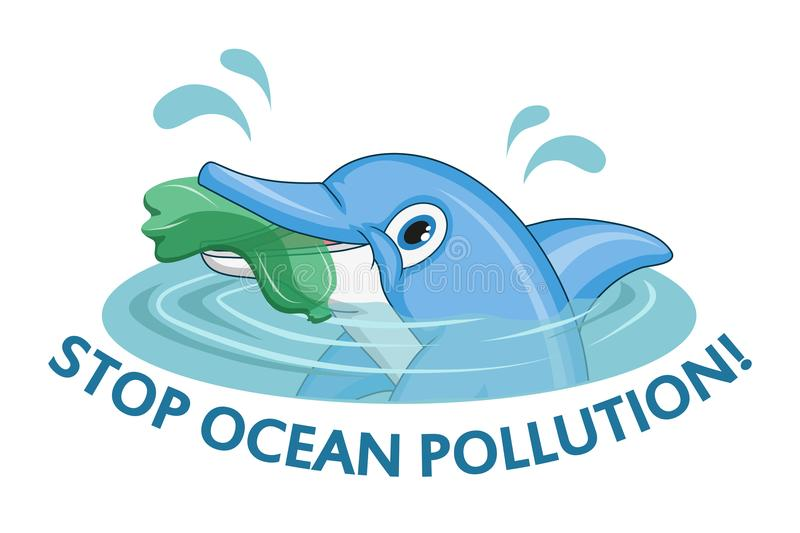 Ocean pollution concept. Dolphin asks stop the pollution of the ocean. Vector graphics to design royalty free illustration