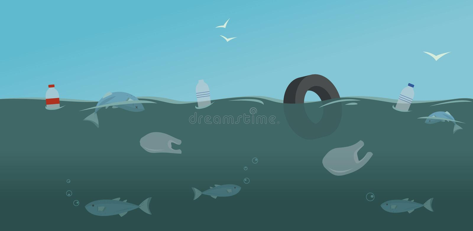 Ocean pollution with floating plastic bags and bottles. vector illustration