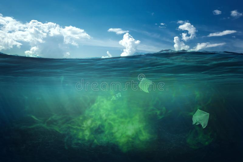 Ocean pollution by toxic waste. Biological waste. The concept of chemical waste, pollution of nature, toxins vector illustration