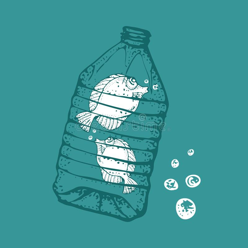 Ocean pollution vector illustration. Fish in a plastic bottle. Ecological poster. Keep the sea, plastic free concept. stock illustration