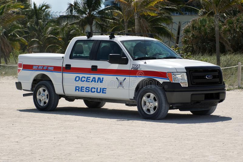 Ocean rescue truck on South Beach in Miami stock images
