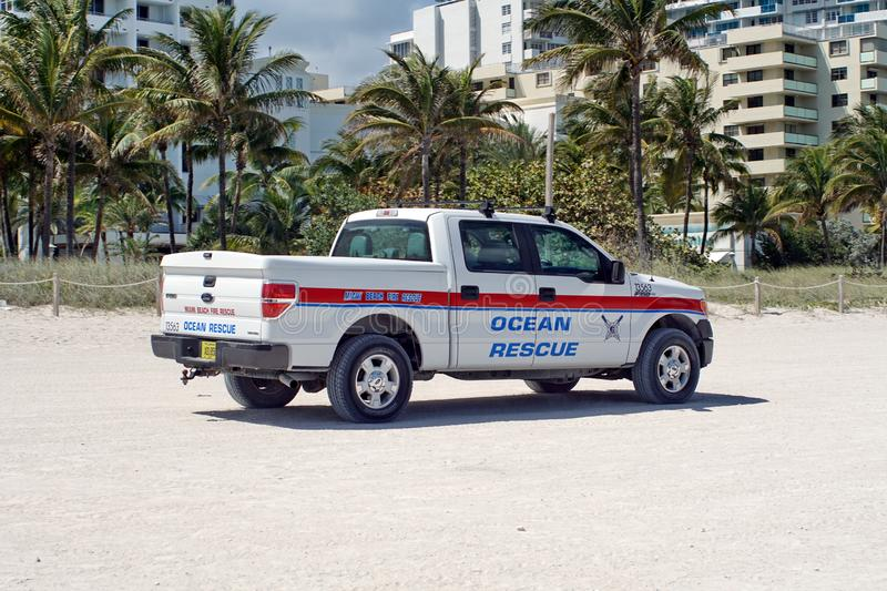 Ocean rescue truck on South Beach in Miami stock photo