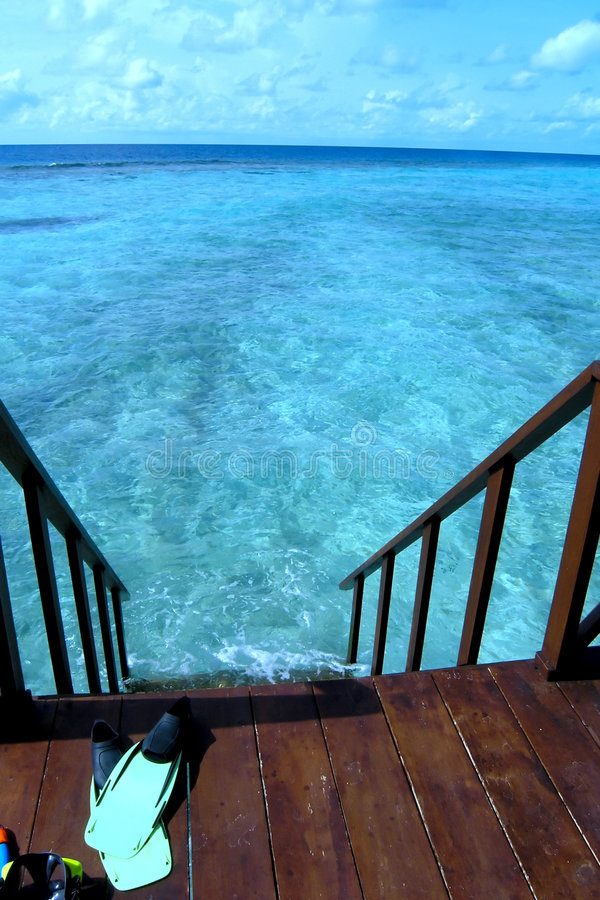 The ocean is right downstairs stock image