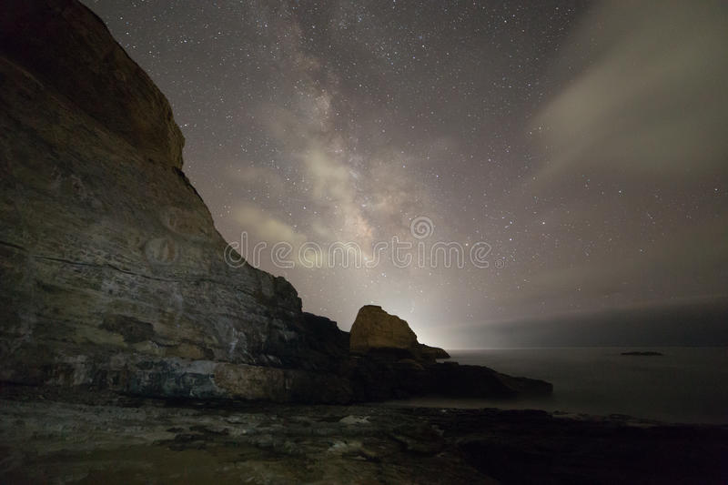 Ocean rocks with milky way stock photo