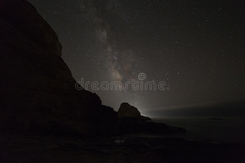 Ocean rocks with milky way royalty free stock photography
