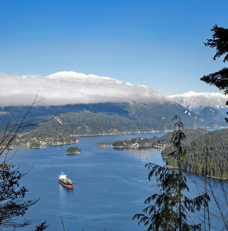 Ocean`s Tanker in Vancouver Harbor royalty free stock photos