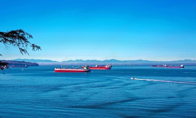 Ocean`s Tankers in Vancouver Harbor stock photo