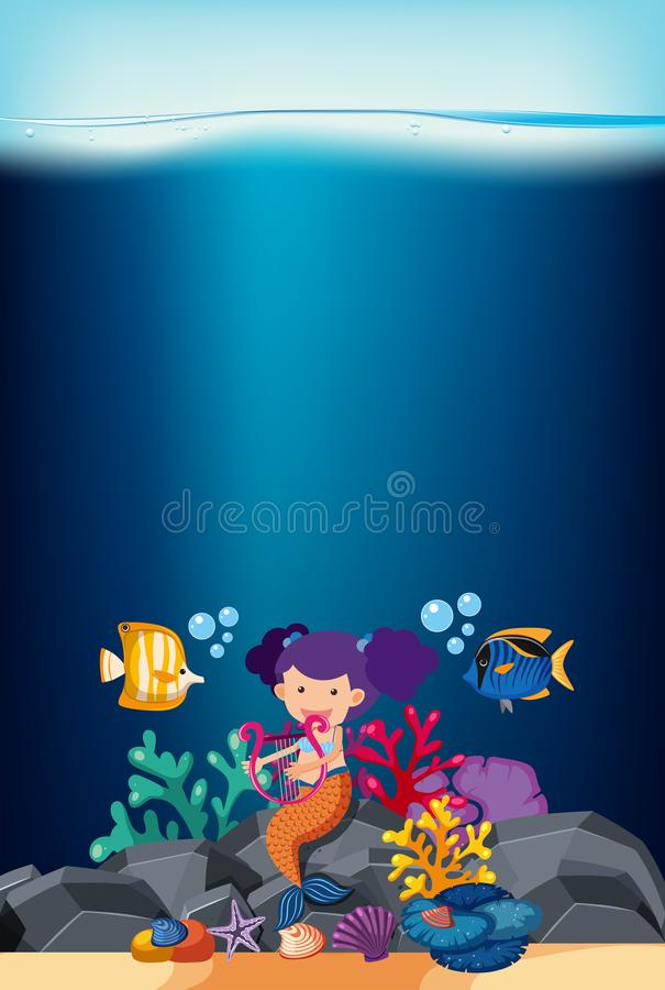 Ocean scene with mermaid and fish vector illustration