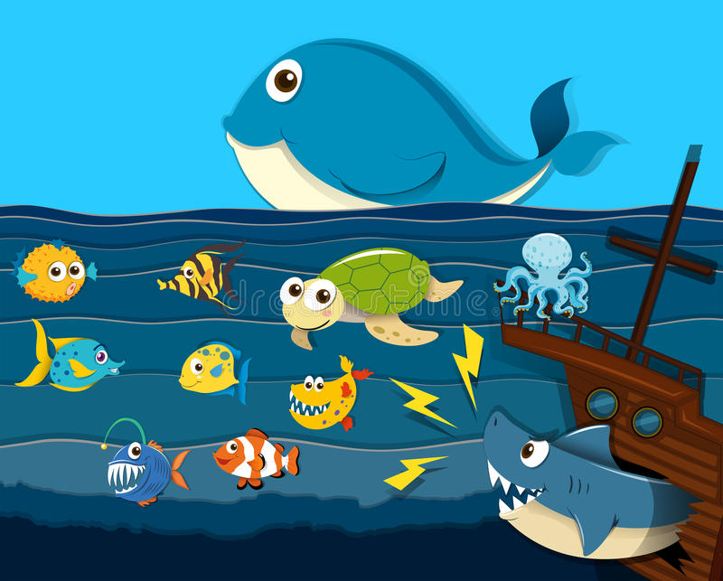 Ocean scene with sea animals vector illustration