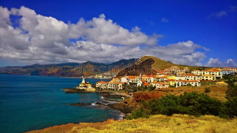 Ocean scenery with hills in Madeira royalty free stock image