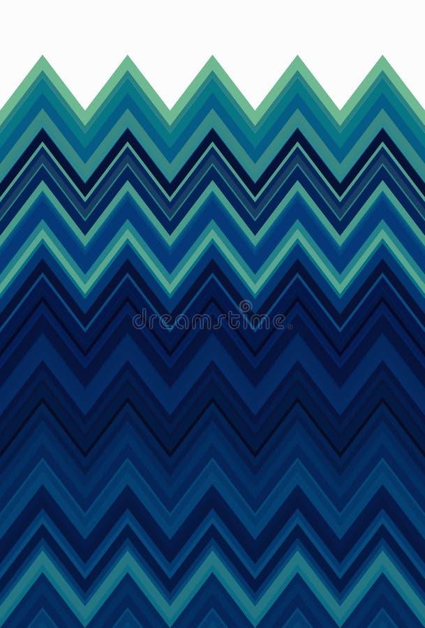 Ocean, sea aquamarine, turquoise seamless, Chevron zigzag pattern abstract art background trends royalty free illustration
