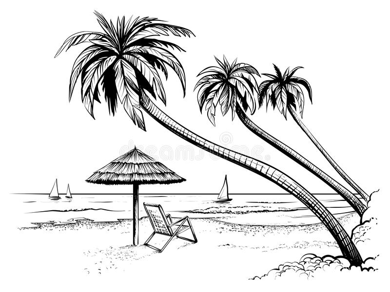 Ocean or sea beach with palms, umbrella, chaise longue and yachts. Hand drawn seaside view. vector illustration