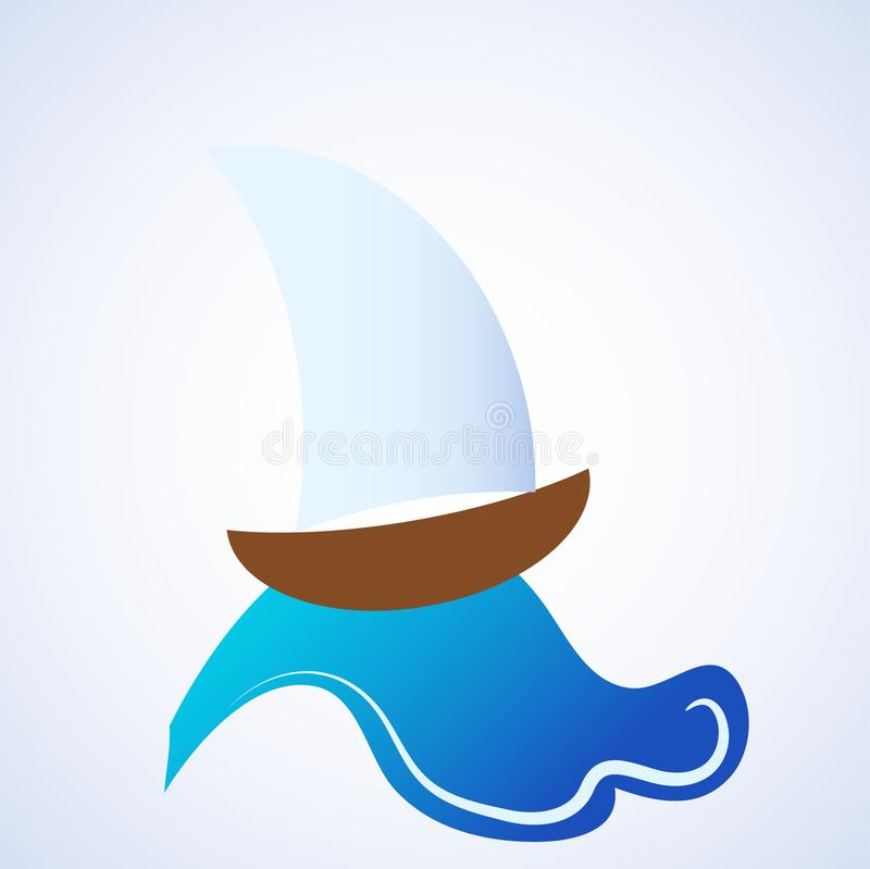 Ocean Sea Water Wave with Sailing Ship. Vector Illustration. Ocean Sea Water Wave with Sailing Ship. Stock vector Illustration stock illustration