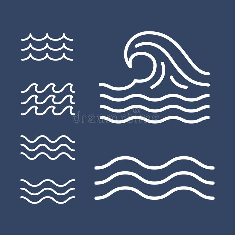 Ocean, sea waves flat simple lines, icons vector illustration