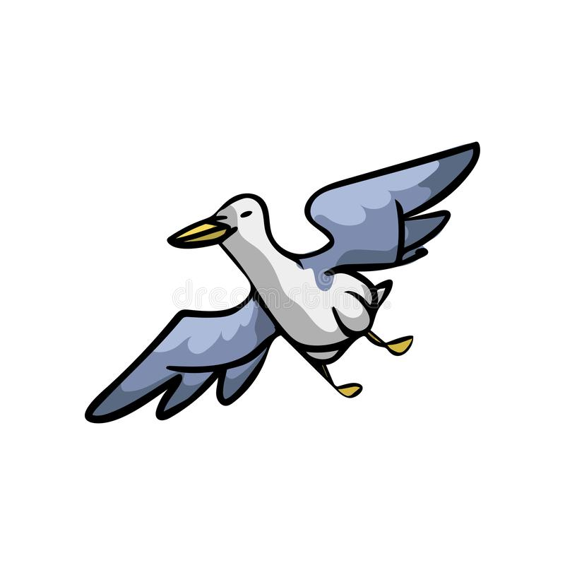 Ocean seagull with blue wings flying in deep sky stock illustration