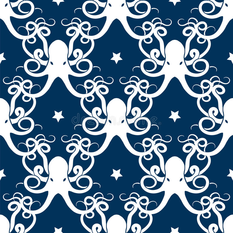 Ocean seamless pattern with octopus. And stars vector vector illustration